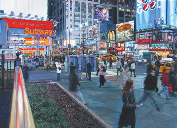 Fred Danziger, 33rd & 7th Avenue, oil cityscape painting