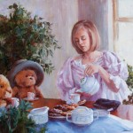 Darianne Whitt, Tea for Three, oil, 16 x 20.