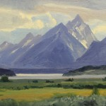 David Schwindt, Jackson Lake and Grand Tetons, oil, 9 x 12.