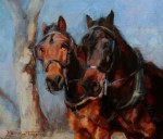 Deborah Fuelberth, Carriage Horses, oil, 8 x 10.