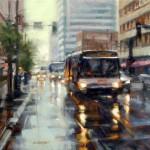 Desmond O'Hagan, Denver Rain, oil, 18 x 24.