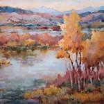 Connie Dillman, Bosque Rhythms, acrylic, 24 x 36.