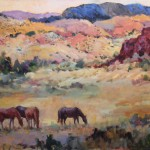Connie Dillman, Pastoral Patterns, acrylic, 30 x 40.
