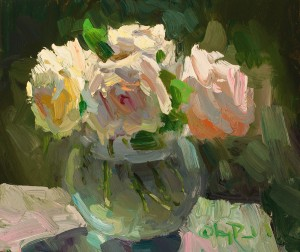 Gregory Packard, Dish of Roses, oil, 10 x 12.
