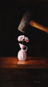 Kathie Disner, Ewer in Trouble, oil, 18 x 12.