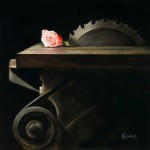 Kathie Disner, …Saw a Rose, oil, 14 x 14.