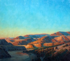 Jerry Markham, Dusk Crossing the Columbia, oil, 30 x 34.
