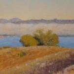 Clark Mitchell, East Bay Fog, pastel, 9 x 22.
