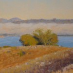 Clark Mitchell, East Bay Fog, pastel, 9 x 22.