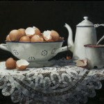 Shirley Gipson, Eggs and Enamel, oil, 16 x 20.