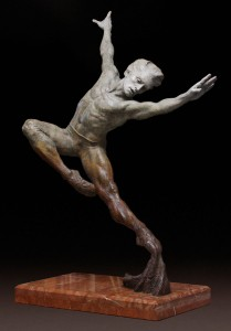 Barry Eisenach, Into the Light, bronze, 29 x 9 x 15.