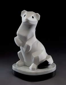 Ellen Woodbury, White Lightning, marble, 14 x 9 x 8.