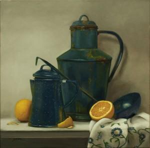 Shirley Gipson, Embroidered Treasure, oil, 18 x 18.