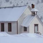 Brett Scheifflee, Emma School House in Winter, oil, 8 x 16.