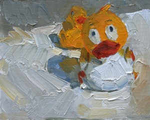 Clyde Steadman, Escape From the Tub, oil, 8 x 10.