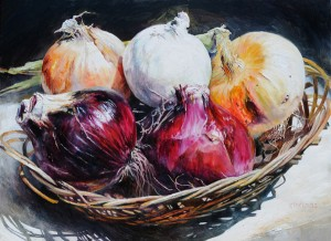 Ethelinda, Galisteo Onions, oil, 38 x 52.
