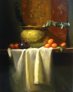 Kelli Folsom, Clementines and Eucalyptus, oil, 20 x 16.