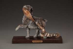 Deborah Copenhaver-Fellows, Biting Off More Than He Can Chew, bronze, 13 x 17 x 7.