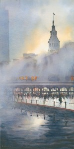 Ferry Building Plaza, San Francisco, watercolor, 20 x 10.