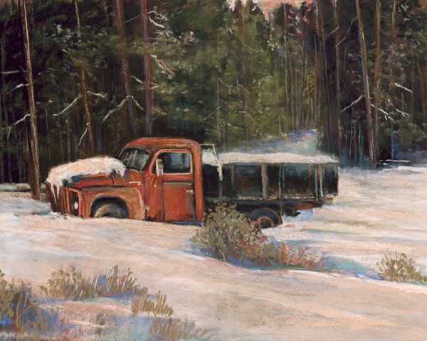 Marjorie Cranston, First Snow in the Old International, pastel, 19 x 24.