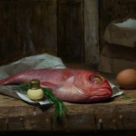 David Gluck, Fish Fry, oil, 12 x 18.
