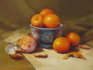 Amanda Fish, Mandarins, oil, 11 x 14.