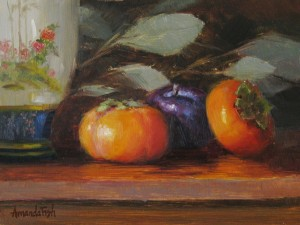 Amanda Fish, Persimmons with Oriental Vase, oil, 6 x 8.