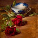 Flow Blue Cup with Roses, oil, 8 x 6.
