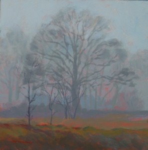 Mark Mehaffey, Foggy Day, acrylic, 6 x 6.