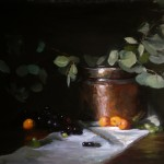 Kelli Folsom, Midsummer Apricots and Copper, oil, 18 x 22.