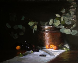 Kelli Folsom, Midsummer Apricots and Copper, oil, 18 x 22.
