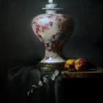 Kelli Folsom, Oriental Vase With Peaches, oil, 18 x 14.