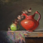 Kelli Folsom, Red Creamer, oil, 10 x 10.