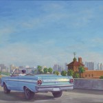 Ford Falcon, San Diego Freeway, oil, 16 x 24.