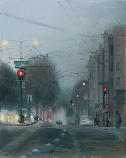 Barbara Fracchia, Foggy Evening, oil cityscape painting