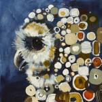 Britt Freda, Spotted Owl, acrylic/graphite, 12 x 12.