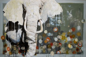 Britt Freda, White Elephant, 2012, acrylic/mixed media, 24 x 36.