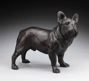 French Bulldog, bronze, 17 x 20 x 10.