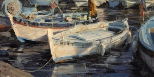 Derek Penix, French Fishing Harbor, oil, 8 x 16.