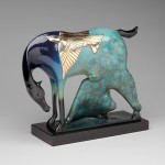 Rebecca Tobey, Friends in a Storm III, bronze, 12 x 17 x 6.