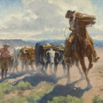 Charles Fritz, The First Wagons to Cross South Pass—Captain Bonneville's Expedition—July 1832, oil, 14 x 40.
