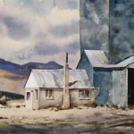 Gamble Ranch Granary #14, watercolor, 23 x 40.