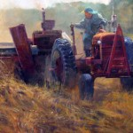 Morning Baling, Smoke and Dust, acrylic, 36 x 72.