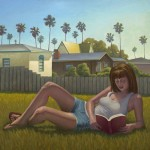 Girl Reading, Pacific Beach, oil, 24 x 26.