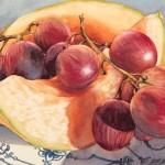 Grapes and Melon, watercolor, 8 x 10.