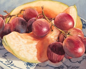 Grapes and Melon, watercolor, 8 x 10.