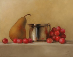 Erin Schulz, Grapes and Pear, oil, 11 x 14.