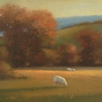 Lynne Windsor, Grazing Sheet, Evening, oil, 10 x 12.