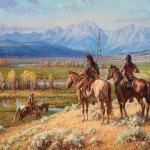 Martin Grelle, Scouts on the Buffalo Fork, oil, 40 x 48, at the Jackson Hole Art Auction. Estimate: $75,000-$125,000.