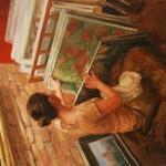 Trent Gudmundsen, Art Appreciator, oil, 24 x 18.